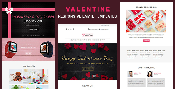 Valentine - Responsive Email Template With Online StampReady & Mailchimp Editors by pennyblack