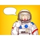Vector Pop Art Surprised Astronaut Woman Speaks - GraphicRiver Item for Sale