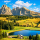 Lake and mountains, Alpe di Siusi or Seiser Alm, Dolomites Alps, - PhotoDune Item for Sale