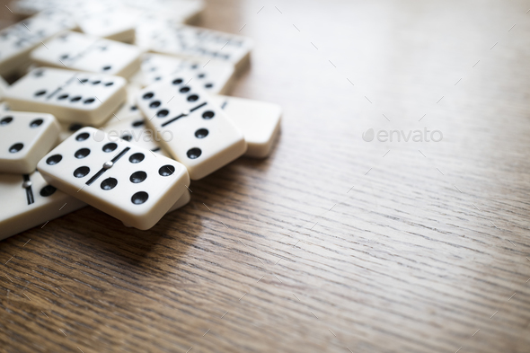 Domino Game, Dominoes On Wooden Table - Stock Photo - Images