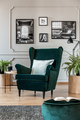 Pillow on emerald green armchair in elegant living room with bla - PhotoDune Item for Sale