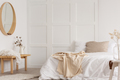 White simple bedroom design with mirror, dresser and comfortable - PhotoDune Item for Sale