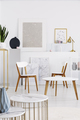 Real photo of white daily room interior with chairs, tables and - PhotoDune Item for Sale