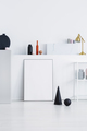 Black cone and ball on a white wall in a daily room interior - PhotoDune Item for Sale