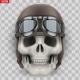Human Skull with Retro Aviator or Biker Helmet - GraphicRiver Item for Sale
