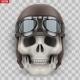 Human Skull with Retro Aviator or Biker Helmet - GraphicRiver Item for Sale