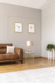 Real photo of an elegant living room interior with a brown sofa - PhotoDune Item for Sale
