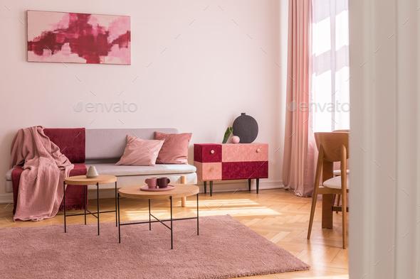 Terrific Poster Above Grey Sofa With Pillows In Bright Living Room Interi Creativecarmelina Interior Chair Design Creativecarmelinacom