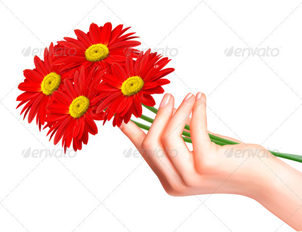 Red Flowers in a Hand. Vector - Flowers & Plants Nature