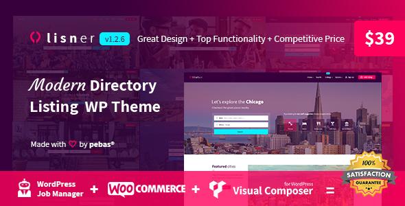 Lisner - Modern Directory Listing WordPress Theme - Directory & Listings Corporate