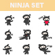 Ninja Cartoon Sticker Set - GraphicRiver Item for Sale