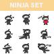 Ninja Cartoon Sticker Set - GraphicRiver Item for Sale