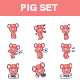 Pig Cartoon Sticker Set - GraphicRiver Item for Sale
