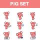 Pig Cartoon Sticker Set - GraphicRiver Item for Sale