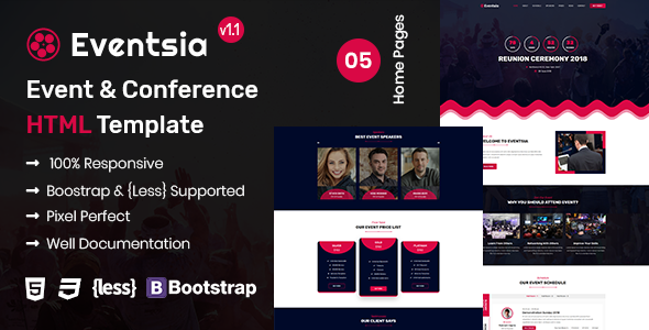 Eventsia - Event & Conference HTML Template