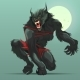 Angry Werewolf Monster Turning Under Full Moon - GraphicRiver Item for Sale