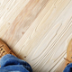 Carpenter feet in work boots standing on wooden floor. Place for - PhotoDune Item for Sale