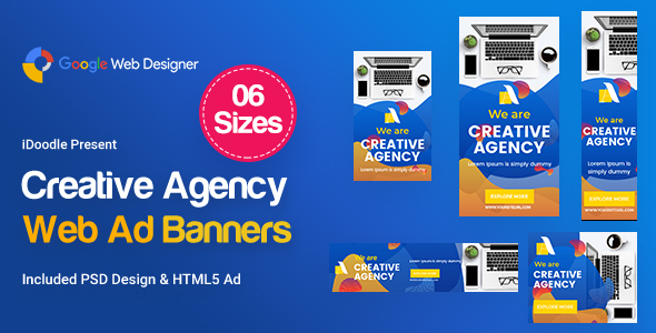 Creative, Startup Agency Banners HTML5 - GWD & PSD