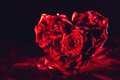 Red roses in heart shape on silk background. - PhotoDune Item for Sale