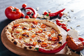 Pizza with hot pepper, cheese and meat spread - PhotoDune Item for Sale