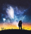 Man and pregnant woman cuddling on night sky. - PhotoDune Item for Sale