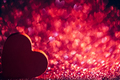 Red heart on glittery red background with copyspace. - PhotoDune Item for Sale