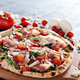Pizza with ham, cheese, tomatoes and rocket salad . - PhotoDune Item for Sale