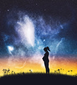 Pregnant woman standing on night sky. - PhotoDune Item for Sale