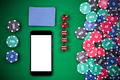 Mobile phone on casino poker table, on line gaming mock up templ - PhotoDune Item for Sale