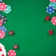 Casino games related items on green table, copy space - PhotoDune Item for Sale