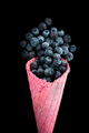 Pink wafer cone with frozen blueberry fruits. Ice cream - PhotoDune Item for Sale