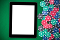 Empty tablet screen on poker table, on line casino - PhotoDune Item for Sale