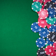 poker chips on green casino table, border background - PhotoDune Item for Sale