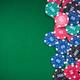 poker chips on green casino table, border background - PhotoDune Item for Sale