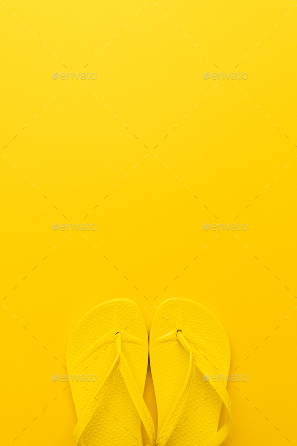 Yellow Beach Flip-Flops - Stock Photo - Images