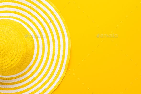 Top View of Yellow Hat - Stock Photo - Images