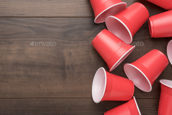 Red Plastic Cups on Table - Stock Photo - Images