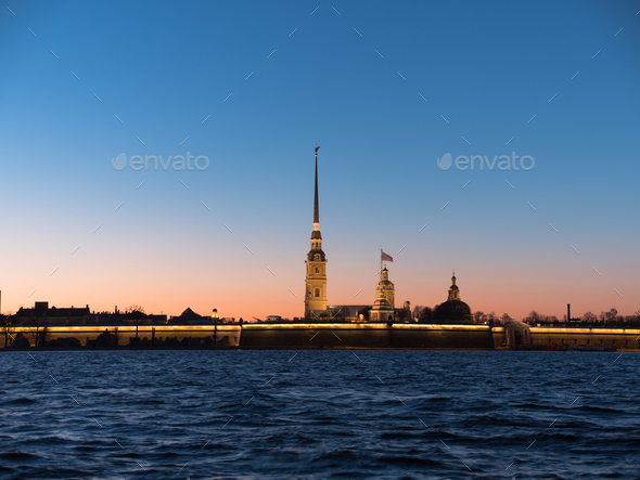 Peter and Paul Fortress night is the original citadel of St. Petersburg, Russia - Stock Photo - Images