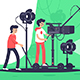 Smiling People Filming Movie with Special Equipment. - GraphicRiver Item for Sale