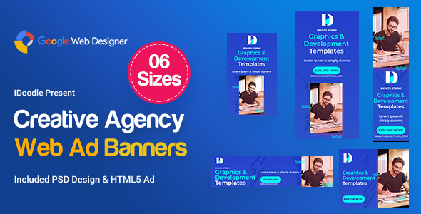 Creative, Startup Agency Banners HTML5 Ad D39 - GWD & PSD
