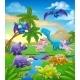 Dinosaur Cartoon Prehistoric Landscape Scene - GraphicRiver Item for Sale