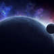 Moon rising over frozen planet in space - PhotoDune Item for Sale
