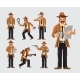 Set of Cartoon Detective in Action - GraphicRiver Item for Sale