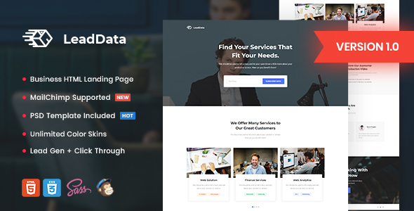 LeadData - Lead Generation HTML Landing Page Template