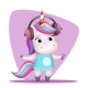 Girl Unicorn with Headphones Listens to Music - GraphicRiver Item for Sale
