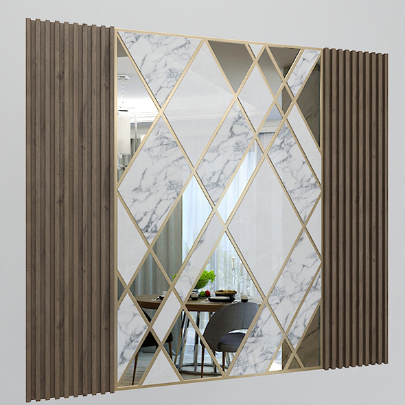 Wall Decorate Panel with Mirrors, Marble and Wood