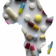 Map Silhouette Africa in white, medication and pills, conceptual image - PhotoDune Item for Sale