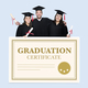 Group of grads in cap and gown with graduation certificate - PhotoDune Item for Sale