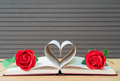 Pages of book curved heart shape and red rose-3 - PhotoDune Item for Sale