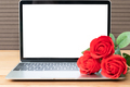 Red rose and laptop mockup on wood_-6 - PhotoDune Item for Sale